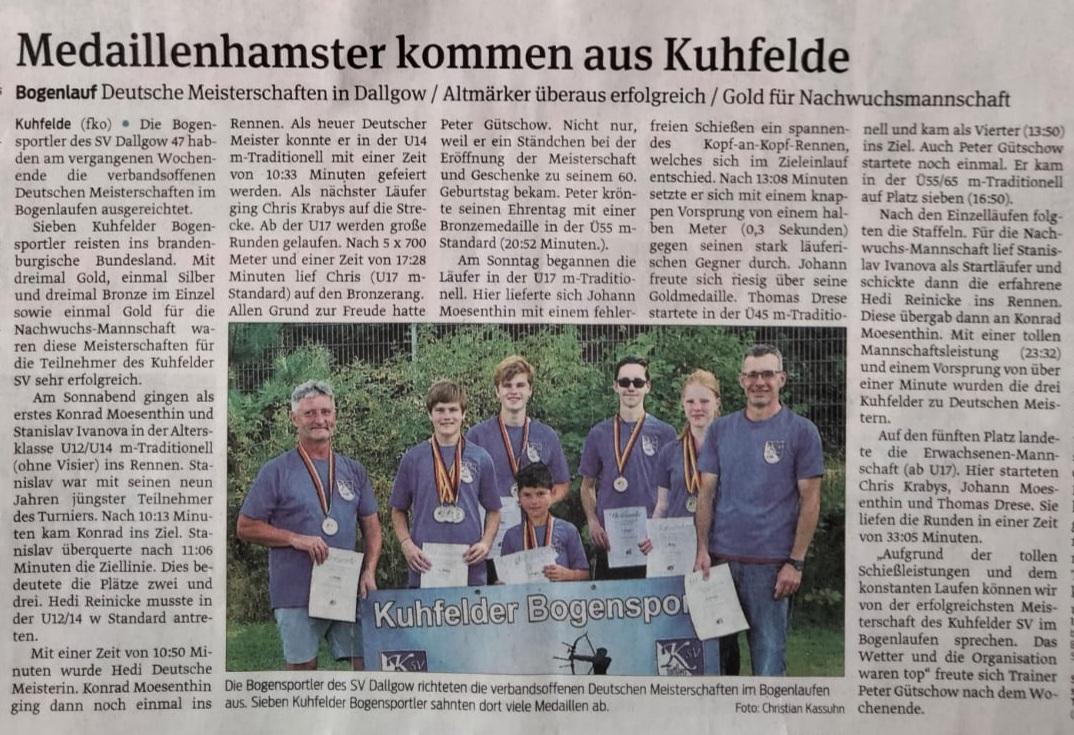 Artikel in der Altmarkzeitung über die Erfolge des Kuhfelder SV bei der DM Bogenlaufen
