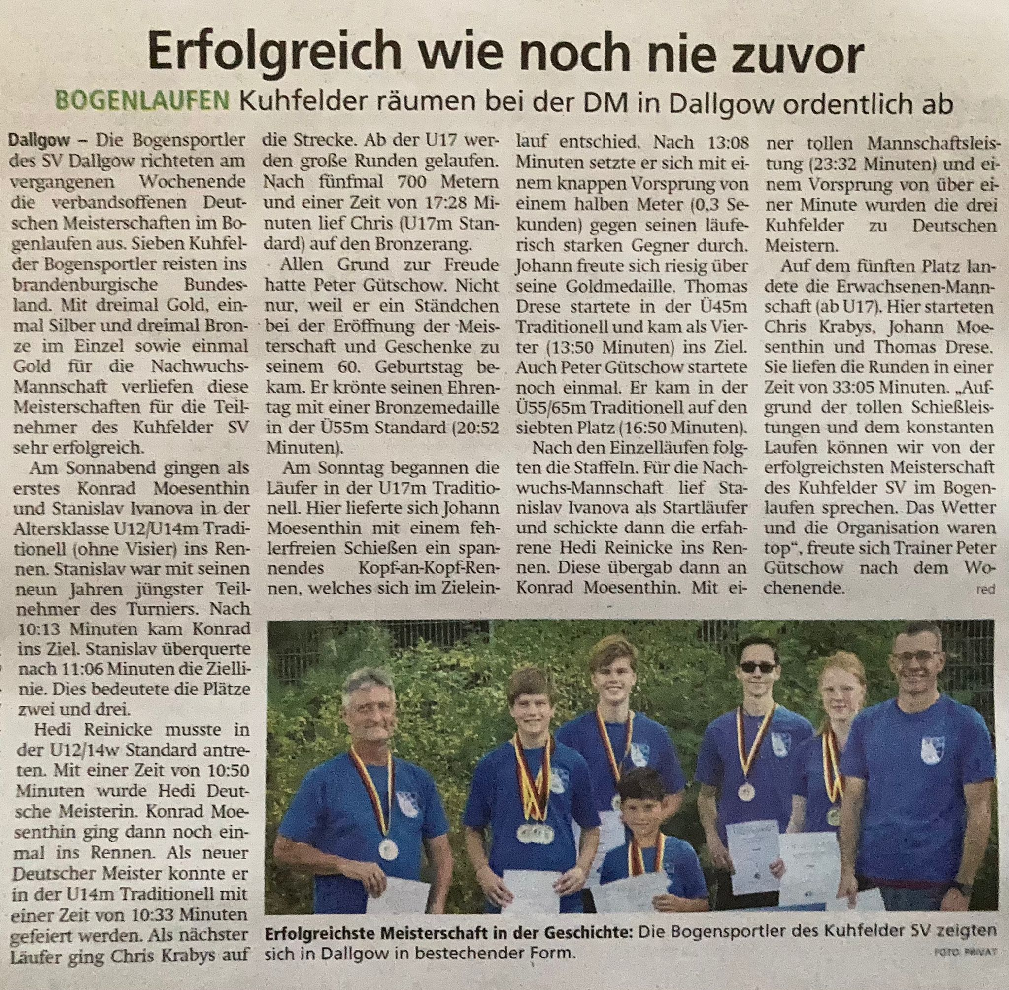 Artikel in der Volksstimme über die Erfolge des Kuhfelder SV bei der DM Bogenlaufen
